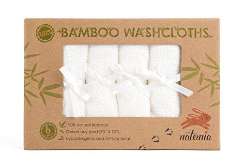 Natemia Babywaschlappen aus Bambus Rayon (6er Pack) | Extra weiche & saugfähige Handtücher für empfindliche Babyhaut | Perfekte wiederverwendbare Tücher | Tolles Taufgeschenk | Weiß 25,4 x 25,4 cm -