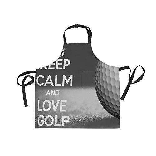XiangHeFu Latzschürze mit 2 Taschen Keep Calm Golf Ball Sport 68,6 x 73,7 cm Verstellbares Nackenband für Männer Frauen Kochen Backen Chef Küche (Golf-masters-patch)