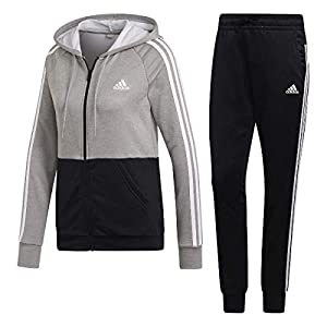 adidas Damen Game Time Trainingsanzug, Solid Grey/Black/White, XL