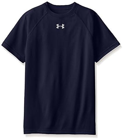 Under Armour Boys' Locker Short Sleeve T-Shirt, Midnight Navy/White, Youth X-Small