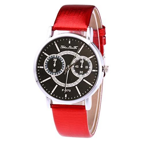 Damen mit Leder Armband Armbanduhr Leuchtende Nacht Wasserdicht Quarzwerk rot - Leuchtend Rotes Leder