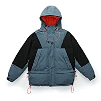 betterluse Outerwear Windproof Parkas Thick Down Jackets Hooded Male Parka Loose Windbreaker Parkas-Blue-Large