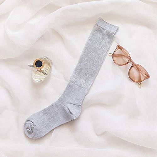 Seide Haufen (NANAYOUPIN Socken Neue vielseitige Bequeme atmungsaktive Baumwolle Glänzende Spitze Gold Silber Seide Haufen Haufen Socken Frauen Niedlich Mesh Lange Lustige Socken6)