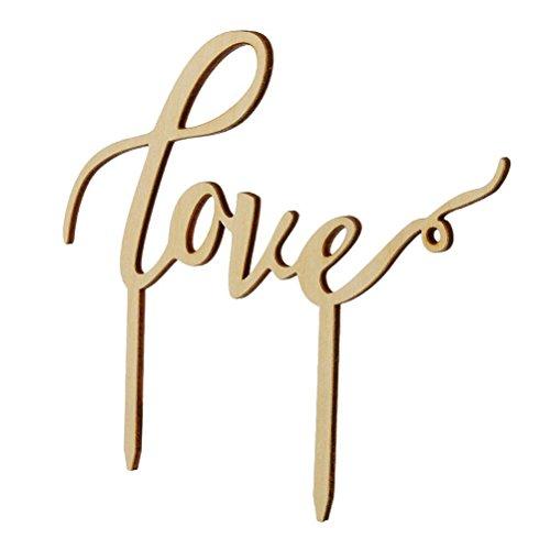Pixnor Love legno torta partito torta decorazione Wedding Favors