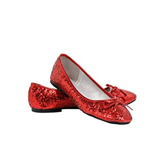 Ellie Shoes Women's Red Glitter Flats Size 5