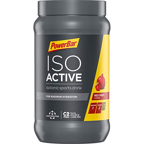 PowerBar Isoactive Isotonisches Sportgetränk (5 Elektrolyte und C2max Dual Source Carb Mix) Red Fruit Punch (1 x 600g) -