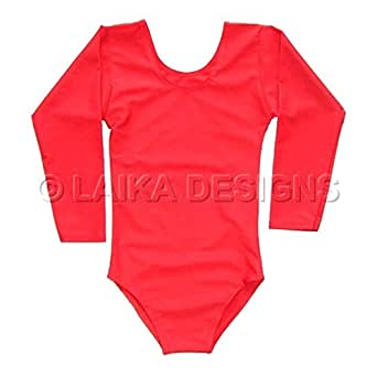 Laika Designs School Uniform Girls Lycra Leotard Gymnastics Dance Ballet - Long Sleeve Red 6-7