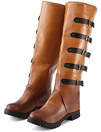 Hffan Damen Mädchen Flache High-top Retro-Stil Coole Biker Boots Schön Elegant Modisch Schuh Hohe Lange Stiefel Langschaft Stiefel Langschaftstiefel Herbst und Winter