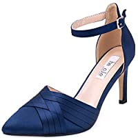 SheSole Ladies Mid High Heels Ankle Strap Evening Wedding Court Shoes Navy Size 7