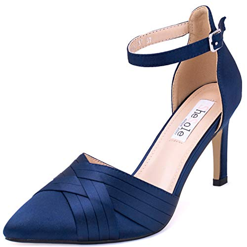 8e2c3add8cff9 Ladies High Heel Court Shoes Navy Pumps for Women Formal Evening Wedding  Party Size 9