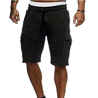 Halijack Men Shorts, Summer Handsome Boy England Style Cotton Elastic Waist Short Pants Straight Pants Casual Gym Sport Fitness Jogging Stretchy Lightweight Loungewear Beach Shorts (M, Black)