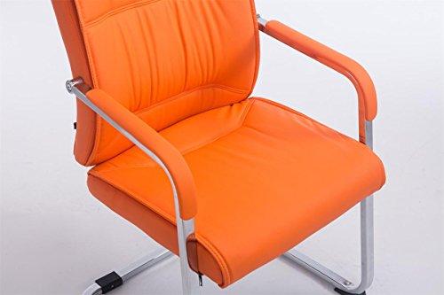 CLP XXL Freischwinger-Stuhl mit Armlehne ANUBIS belastbar bis 260 kg gepolstert orange - 4