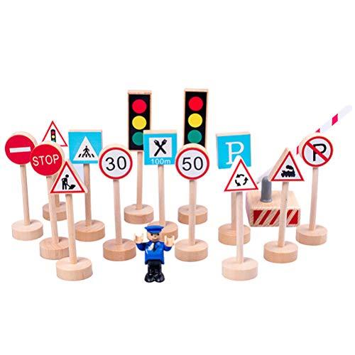 Toyvian 15pcs Panneaux de signalisation en Bois Playset Panneaux de signalisation de Circulation en Bois pour Enfants Jouets éducatifs pour Enfants