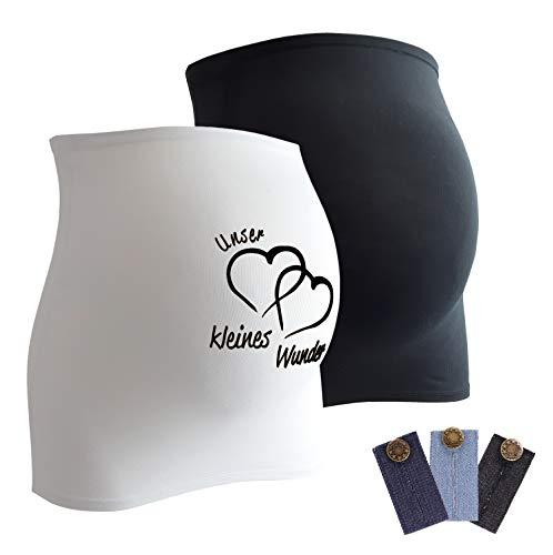 Umstandsmode Bauchband (Mamaband Schwangerschaft Bauchband für die Babykugel im Doppelpack 1xUni 1xWunder - Rückenwärmer und Shirtverlängerung für Schwangere - Elastische Umstandsmode Weiß 32-38)