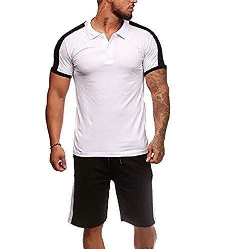 CuteRose Men's Trim-Fit Set Short Sleeve Blouse + Bodycon Shorts Pants White XL - Trim Velour Hoodie
