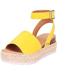 Sandalias Mujer Verano 2019 Plataforma Cuña PAOLIAN Sandalias Esparto Playa Tacon Medio Casual Fiesta Zapatos Alpargatas