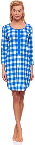 Italian Fashion IF Damen Stillnachthemd M003 Saphir/Weiß