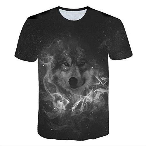 Männer Frühling Sommer Männer T-Shirts 3D Gedruckt Tier t-Shirt Kurzarm Lustige Design Casual Tops Tees Männlich,3D gedruckte Wolf-1 schwarz 2XL -