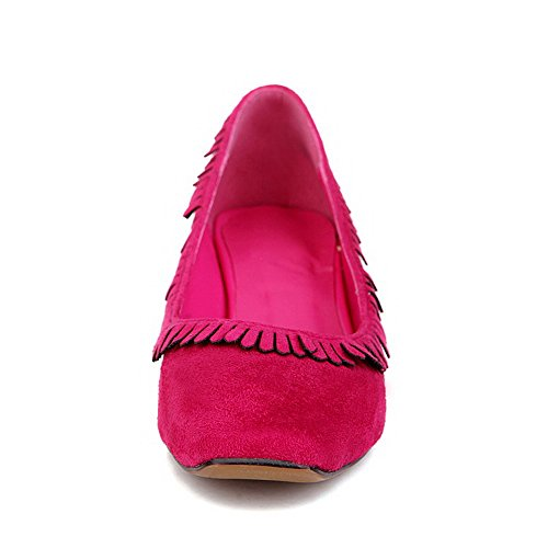 AllhqFashion Femme à Talon Correct Dépolissement Couleur Unie Tire Carré Chaussures Légeres Cramoisi