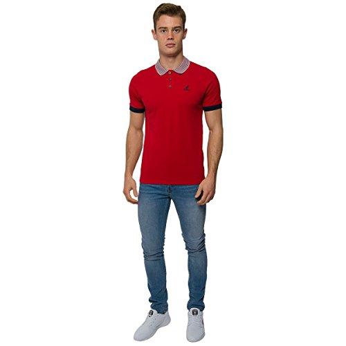 Kangol UOMO DI MARCA classica polo camicia SEMPLICE sportiva a righe colletto di marca maglia Rosso