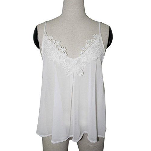 OverDose Damen Lace Chiffon Vest Top Sleeveless Casual Tank Blouse Summer Tops T-Shirt Spitze Weste Sommer Blusen (S, Z-Weiß) - 4