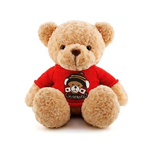SHENGSHIHUIZHONG Plüschtiere, Plüschtiere, Classic Stance, Cartoon Sportswear Teddy Bear, Puppenfigur, Geburtstagsgeschenk, Rag Doll Red (Color : Red) -
