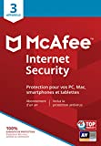 McAfee Internet Security 2019|3 Appareils|Code d'activation - envoi par la poste