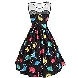Soupliebe Damen Vintage Ärmelloses Damenkleid Bedruckt Dinosaurier Tunika Tank Kleid Abendkleider Cocktailkleid Partykleider Blusenkleid