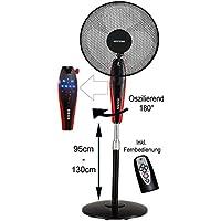 Standventilator 50 Watt   Ventilator   Windmaschine   Klimagerät   Bodenventilator   Luftkühler   Fernbedienung   Timer   Nachtmodus LED-Display   (schwar Ø41cm)