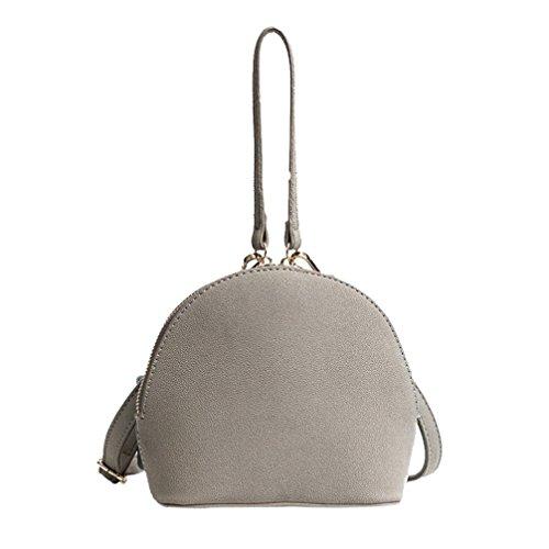 Manadlian Damen Tasche Shell-Paket Kuriertaschen Schultertasche Einfarbig Reißverschluss Flap Bag Schultertaschen (Grau) (Flap Hobo Bag)