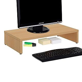 CARO-Möbel Monitorständer Monitor Schreibtischaufsatz Bildschirmerhöhung in buchefarben 50 x 10 x 27 cm (B x H x T)