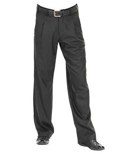 Bundfaltenhose in weißen Nadelstreifen mit Gerade geschnittene Beine, Model Swing Größe 46