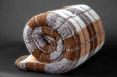 Manta de 100% pura lana Merina 450gsm, 200/200cm Cálido y Natural Certificada por Woolmark. Muy suave y confortable.