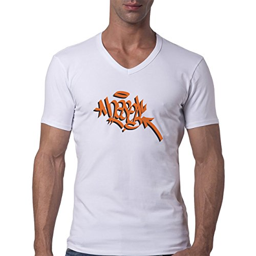 Graffitti Hip Hop Rap Orange Herren V-Neck T-Shirt Weiß