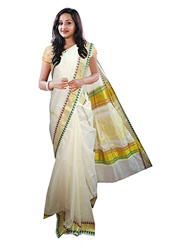 Ars Women's Cotton Saree With Blouse Piece(Ksvembroidery04_White_Free Size)