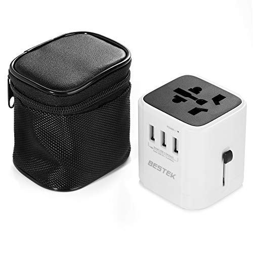 BESTEK Universal Reiseadapter Reisestecker Steckdosen Adapter Reise Ladegerät Adapterstecker mit 3 USB (5V/4.5A) für Reisen nach 220 Ländern (UK,USA,Kanada,Japan,China,Australien,Mexiko) - Zu 110v 240v Spannungswandler