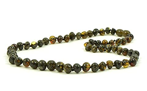 Baltic Amber Necklace for Adults - 45 cm - Hand-Made from Certified Baltic Amber Beads (Dark Green)