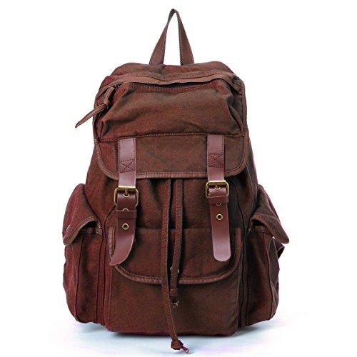 Joymoze Retro Multipurpose Canvas Backpack School Bag Practical Casual Rucksack for Men and Women Brown 713