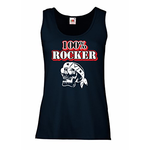 lepni.me Serbatoio,Maglietta Senza Maniche Femminile 100% Rocker! Citazioni Moto, Regalo Moto per Motociclisti (Large Azzulo Multicolore)