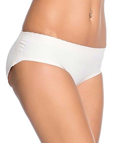 Kendindza Damen Push Up Popo Höschen - Hose Pants - fest eingearbeitete Polster - Unterhose Slip - Po Push Up Effekt Beige