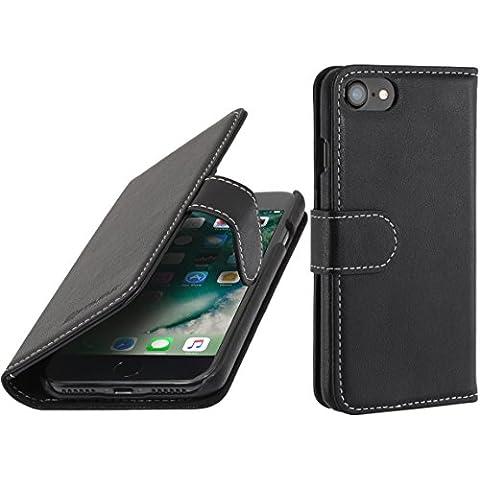 """StilGut Talis Case con tasca per carte , custodia in pelle cover per iPhone 7 (4,7""""). Chiusura a libro Flip-Case in vera pelle fatta a mano, Nero Nappa"""