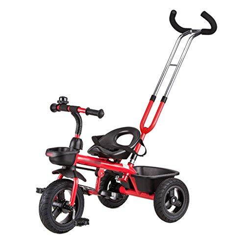 Chengxin Sillas Ligeras Cochecito Desmontable Triciclo Desmontable para niños con Doble propósito de 18 Meses y 6 años Sillas Ligeras (Color : Red)