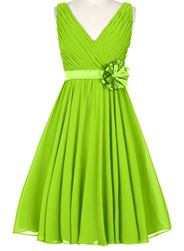 HUINI Abiti V-Neck breve Chiffon abiti da sposa partito di promenade con Fiore Verde Lime