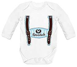ShirtStreet Wiesn Strampler Bio Baby Body Bodysuit Langarm Jungen Mädchen Oktoberfest - Junge Lederhose Lausbub, Größe: 12-18 Monate,White