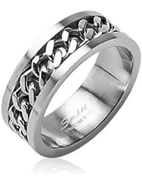 Paula & Fritz® Ring aus Edelstahl Chirurgenstahl 316L mit silbernen Ketten verfügbare Ringgrößen 47 (15) – 72...
