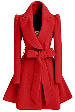 Women's Slim Splicing Turndown Collar Fold Big Swing Long Coat with Belt Red XL