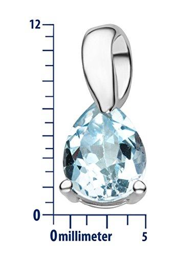 Miore - Collier avec Pendentif - Or Blanc 9 cts - 45 cm Bleu Topaz