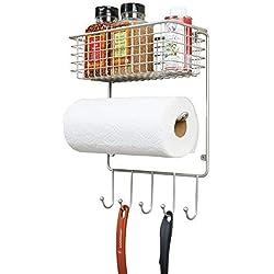 mDesign porte essuie tout – étagère murale polyvalente en métal pour cuisine et débarras – avec panier rangement profond et cinq crochets – couleur argenté mat