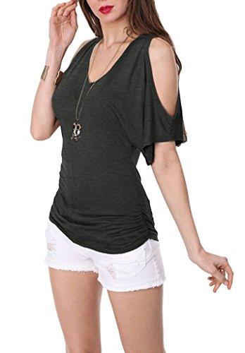Smile YKK Kurzarm Mit Schlitz Damen Sommer Slim Fit Oberteil T-Shirt Shirts Oberteil Casual Shirts Basic Shirt Pullover Schwarz
