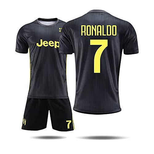 WJBZB Fußballuniformen - Juventus Football Club C Ronaldo 7# Trikot, 18-19 Zwei-Spieler-Fußballuniform Trainingsanzüge Uniformen Fußballjacken Männer und Jungen Fußball T-Shirts und Shorts, schwarz